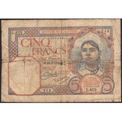 Algérie - Pick 77a_1 - 5 francs - 18/08/933 - Etat : B