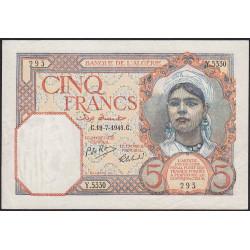 Algérie - Pick 77b - 5 francs - 19/07/1941 - Etat : SUP