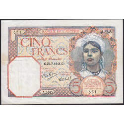 Algérie - Pick 77b - 5 francs - 25/07/1941 - Etat : TTB+