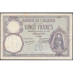 Algérie - Pick 78b - 20 francs - 1927 - Etat : TTB