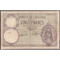 Algérie - Pick 78c_2 - 20 francs - 19/12/1941 - Etat : TB-
