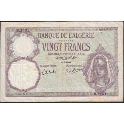Algérie - Pick 78c_2 - 20 francs - 14/02/1942 - Etat : TB+