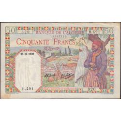 Algérie - Pick 84 - 50 francs - 25/10/1940 - Etat : SUP-