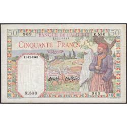Algérie - Pick 84 - 50 francs - 11/12/1940 - Etat : TTB