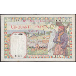 Algérie - Pick 84 - 50 francs - 1940 - Etat : TTB