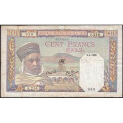 Algérie - Pick 85_1 - 100 francs - 1940 - Etat : TTB-