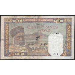 Algérie - Pick 85_1 - 100 francs - 27/07/1940 - Etat : TB+