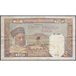 Algérie - Pick 85_1 - 100 francs - 30/07/1940 - Etat : TB+