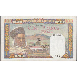 Algérie - Pick 85_1 - 100 francs - 25/11/1941 - Etat : SUP