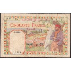 Algérie - Pick 87 - 50 francs - 02/02/1945 - Etat : TB