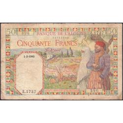 Algérie - Pick 87 - 50 francs - 01/03/1945 - Etat : TB