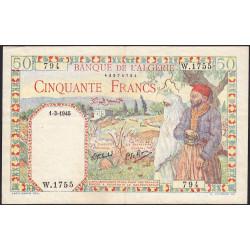 Algérie - Pick 87 - 50 francs - 01/031945 - Etat : SUP-
