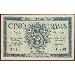 Algérie - Pick 91 - 5 francs - 16/11/1942 - Etat : TTB+