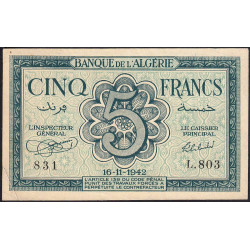 Algérie - Pick 91 - 5 francs - 1942 - Etat : TTB+