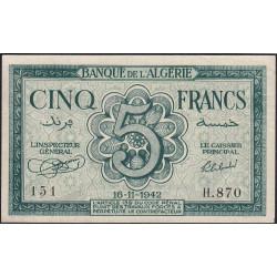 Algérie - Pick 91 - 5 francs - 16/11/1942 - Etat : SPL