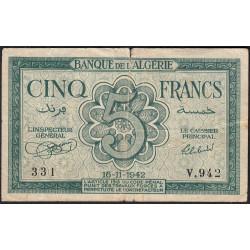 Algérie - Pick 91 - 5 francs - 16/11/1942 - Etat : TB