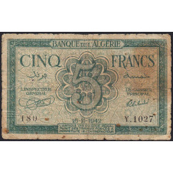 Algérie - Pick 91 - 5 francs - 16/11/1942 - Etat : B