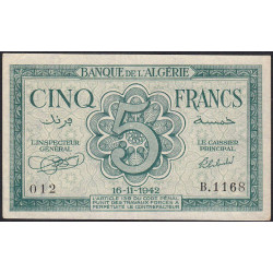 Algérie - Pick 91 - 5 francs - 16/11/1942 - Etat : SUP