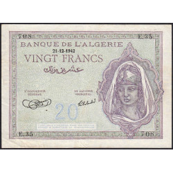 Algérie - Pick 92a_1 - 20 francs - 21/12/1942 - Etat : TTB+