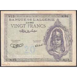 Algérie - Pick 92a_1 - 20 francs - 03/03/1943 - Etat : TTB-