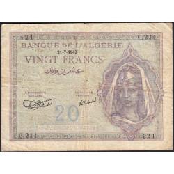 Algérie - Pick 92a_1 - 20 francs - 21/07/1943 - Etat : TB