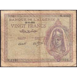 Algérie - Pick 92b - 20 francs - 29/11/1944 - Etat : B+