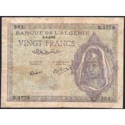 Algérie - Pick 92b - 20 francs - 03/04/1945 - Etat : TB-