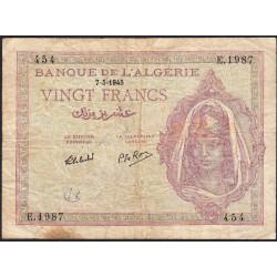 Algérie - Pick 92b - 20 francs - 07/05/1945 - Etat : TB-