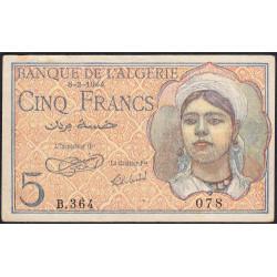 Algérie - Pick 94a - 5 francs - 08/02/1944 - Etat : SUP-
