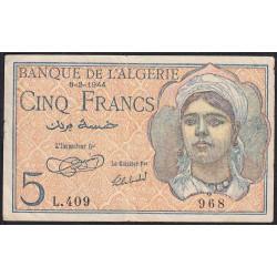 Algérie - Pick 94a - 5 francs - 08/02/1944 - Etat : TTB