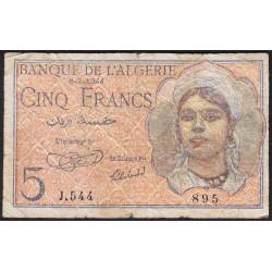 Algérie - Pick 94a - 5 francs - 1944 - Etat : B+