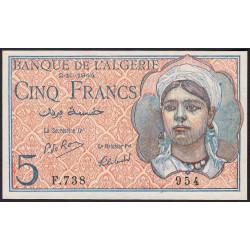 Algérie - Pick 94b - 5 francs - 02/10/1944 - Etat : pr.NEUF