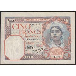 Algérie - Pick 77a_1 - 5 francs - 1929 - Etat : TTB