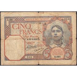 Algérie - Pick 77a_1 - 5 francs - 19/04/1933 - Etat : B