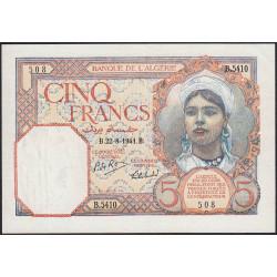 Algérie - Pick 77b - 5 francs - 22/08/1941 - Etat : SUP+