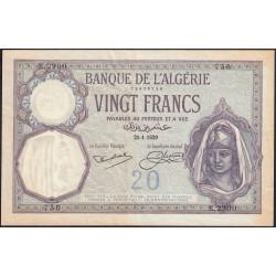 Algérie - Pick 78b - 20 francs - 21/01/1929 - Etat : TTB+