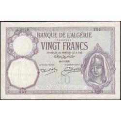 Algérie - Pick 78b - 20 francs - 30/07/1929 - Etat : TTB+
