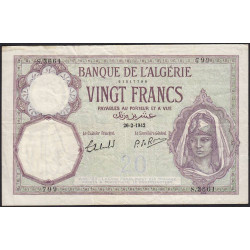 Algérie - Pick 78c_2 - 20 francs - 1942 - Etat : TTB-