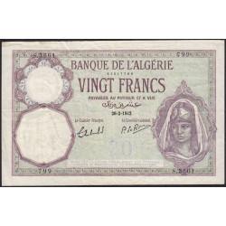 Algérie - Pick 78c_2 - 20 francs - 26/02/1942 - Etat : TTB-
