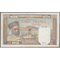 Algérie - Pick 85_1 - 100 francs - 23/09/1940 - Etat : TTB+