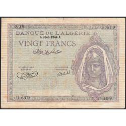 Algérie - Pick 92a_2 - 20 francs - 23/03/1944 - Etat : TB-