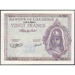 Algérie - Pick 92a_2 - 20 francs - 1944 - Etat : pr.NEUF