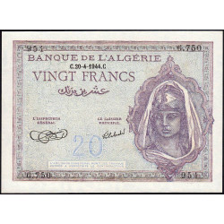 Algérie - Pick 92a_2 - 20 francs - 20/04/1944 - Etat : pr.NEUF