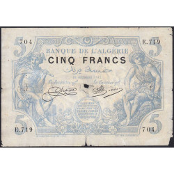 Algérie - Pick 71b_1 - 5 francs - 18/10/1915 - Etat : TB-