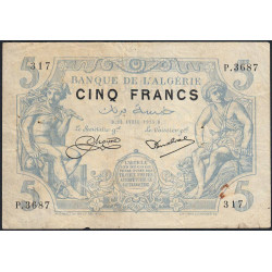 Algérie - Pick 71b_2 - 5 francs - 21/04/1925 - Etat : TTB-