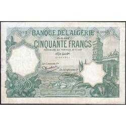 Algérie - Pick 80_2 - 50 francs - 19/11/1932 - Etat : B+