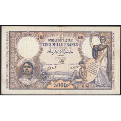 Algérie - Pick 90 - 5'000 francs - 07/08/1942 - Etat : TTB