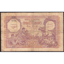 Algérie - Pick 95 - 500 francs - 15/09//1944 - Etat : B