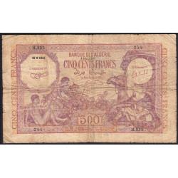 Algérie - Pick 95 - 500 francs - 1944 - Etat : B