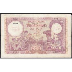 Algérie - Pick 95 - 500 francs - 15/09//1944 - Etat : B+